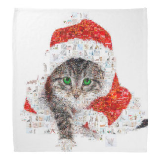 santa claus cat - cat collage - kitty - cat love bandana