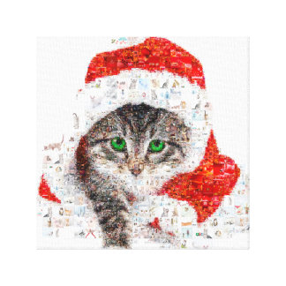 santa claus cat - cat collage - kitty - cat love canvas print