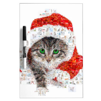 santa claus cat - cat collage - kitty - cat love dry erase board