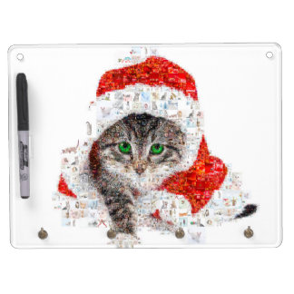 santa claus cat - cat collage - kitty - cat love dry erase board with keychain holder