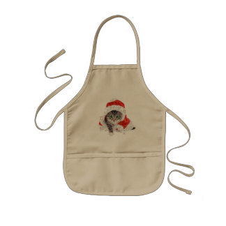 santa claus cat - cat collage - kitty - cat love kids apron