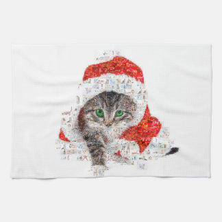 santa claus cat - cat collage - kitty - cat love kitchen towel