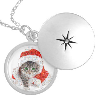 santa claus cat - cat collage - kitty - cat love locket necklace