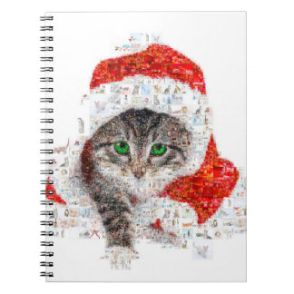 santa claus cat - cat collage - kitty - cat love notebooks