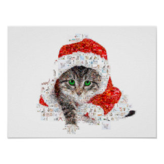 santa claus cat - cat collage - kitty - cat love poster