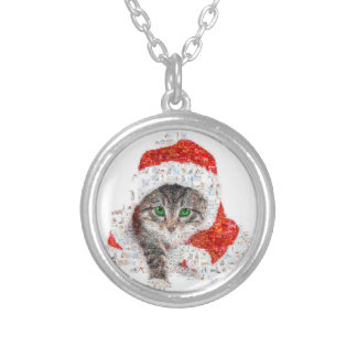 santa claus cat - cat collage - kitty - cat love silver plated necklace