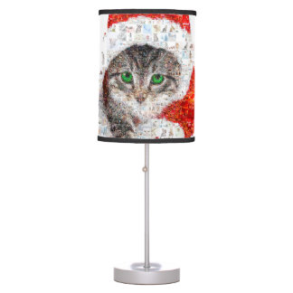 santa claus cat - cat collage - kitty - cat love table lamp