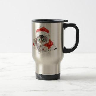 santa claus cat - cat collage - kitty - cat love travel mug