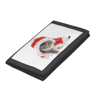 santa claus cat - cat collage - kitty - cat love tri-fold wallet