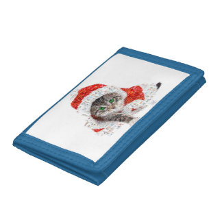santa claus cat - cat collage - kitty - cat love trifold wallet