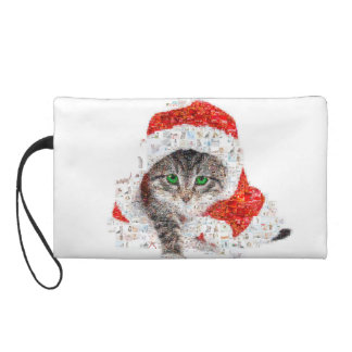 santa claus cat - cat collage - kitty - cat love wristlet