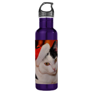 Santa claus cat - merry christmas - pet cat 710 ml water bottle
