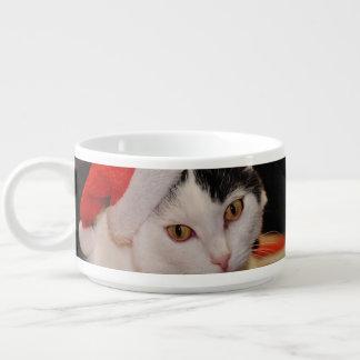 Santa claus cat - merry christmas - pet cat bowl