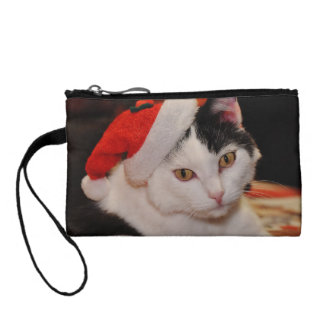 Santa claus cat - merry christmas - pet cat coin purse