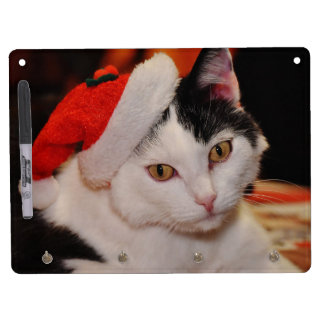 Santa claus cat - merry christmas - pet cat dry erase board with keychain holder