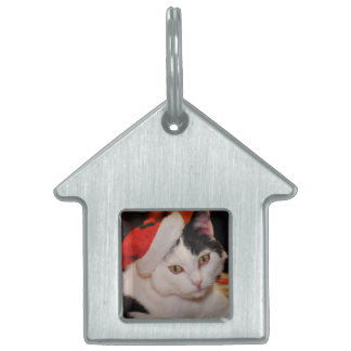 Santa claus cat - merry christmas - pet cat pet name tag