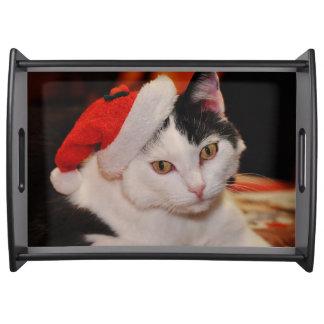 Santa claus cat - merry christmas - pet cat serving tray