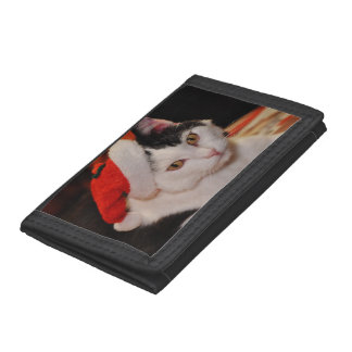 Santa claus cat - merry christmas - pet cat tri-fold wallet