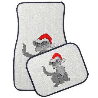 Santa Claus cat with a red santa hat Car Mat