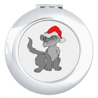 Santa Claus cat with a red santa hat Travel Mirror