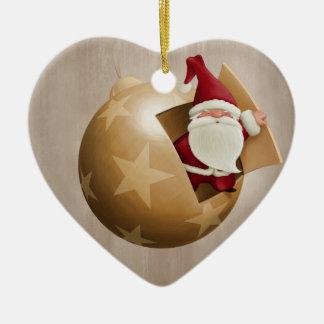 Santa Claus Ceramic Heart Ornament
