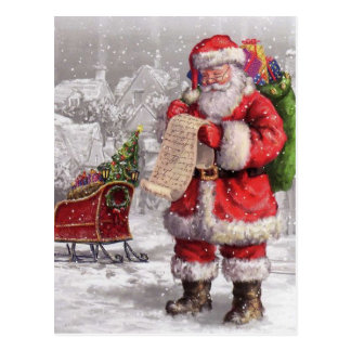 Santa Claus Checking His List Twice Postcard