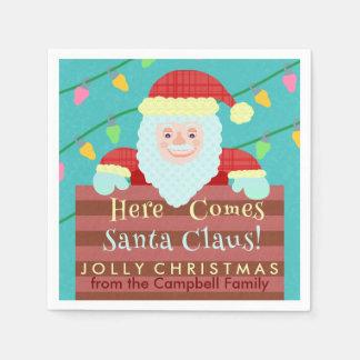 Santa Claus Chimney String of Lights Christmas Disposable Napkin