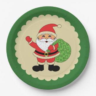 Santa Claus Christmas 9 Inch Paper Plate
