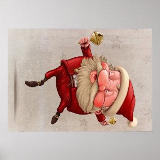 Santa Claus Christmas bells dancing Poster