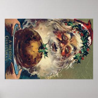 Santa Claus Christmas Ham Holly Poster