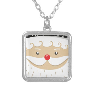 Santa Claus Christmas Motif Silver Plated Necklace