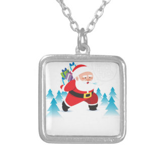 santa claus christmas reindeer snow man silver plated necklace