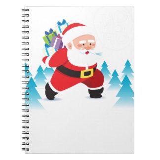 santa claus christmas reindeer snow man spiral notebook
