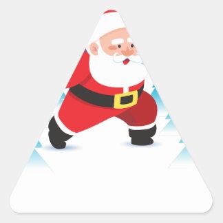 santa claus christmas reindeer snow man triangle sticker
