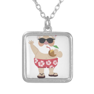 santa claus christmas silver plated necklace