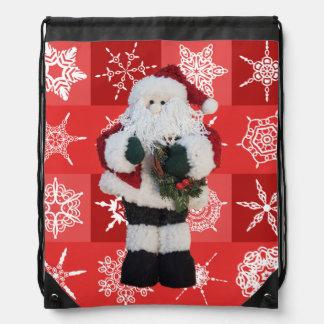 Santa Claus Christmas | Snowflakes Red Drawstring Bag