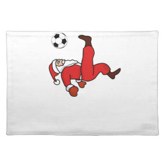 Santa claus Christmas soccer player Placemat