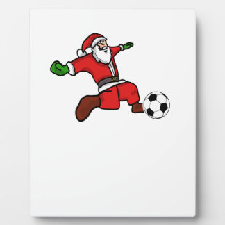 Santa claus Christmas soccer player Plaque
