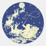 Santa Claus Christmas Vintage Postcard Art Round Sticker