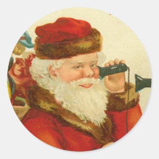 Santa Claus Christmas Vintage Postcard Print Round Sticker