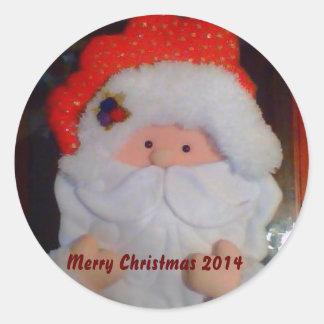 Santa Claus Classic Round Sticker, Glossy 2014