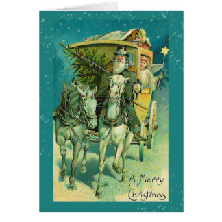 Santa Claus Coach Christmas Eve Greeting Card