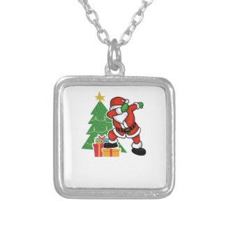 Santa claus dab christmas tree silver plated necklace