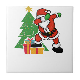 Santa claus dab christmas tree tile
