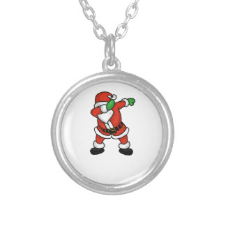 Santa Claus dab dance christmas T-shirt Silver Plated Necklace