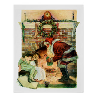 Santa Claus Delivering Presents Poster
