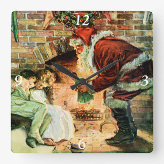 Santa Claus Delivering Presents Square Wall Clock