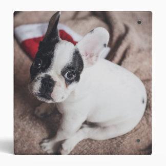 Santa claus dog -funny pug - dog claus 3 ring binder