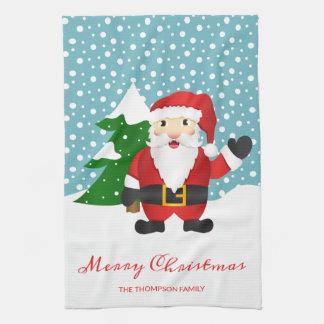 Santa Claus Drawing & Custom Name Merry Christmas Kitchen Towel