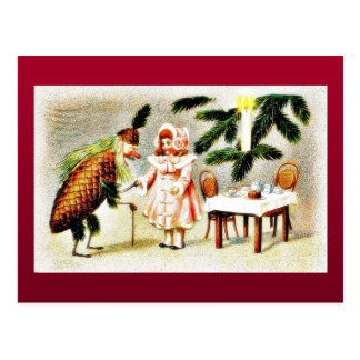 Santa claus dressed like pineapple and wishes a gi postcard